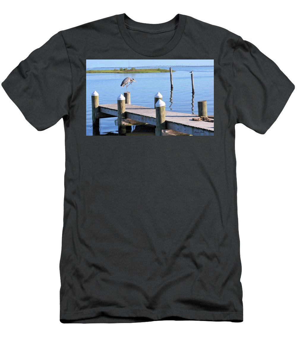 Men's T-Shirt (Athletic Fit) featuring the photograph On The Dock Of The Bay by Donna Martin