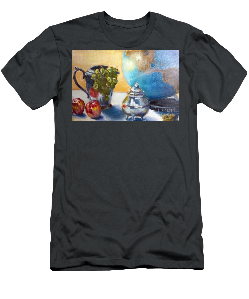 Globe Men's T-Shirt (Athletic Fit) featuring the painting On The Etagiere by Leslie Dobbins