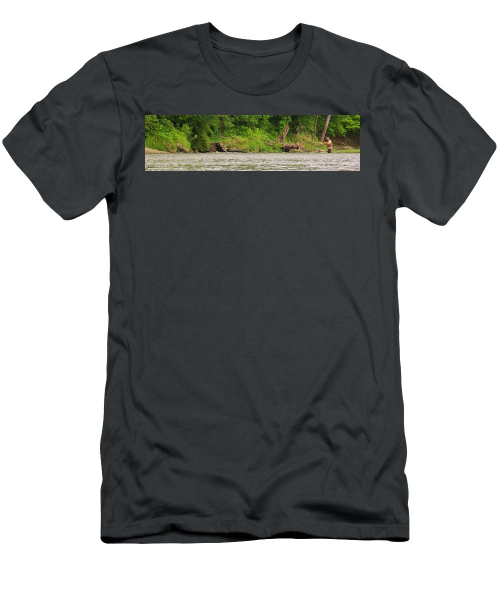 On The Fly Men's T-Shirt (Athletic Fit) featuring the photograph On The Fly by Ed Smith