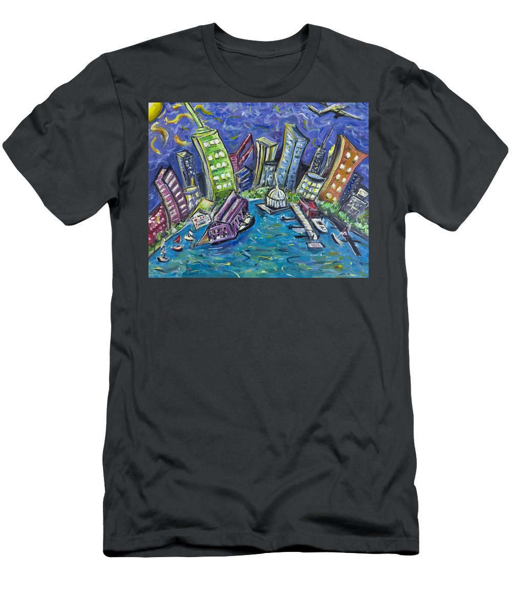 New York City Men's T-Shirt (Athletic Fit) featuring the painting On The Hudson by Jason Gluskin
