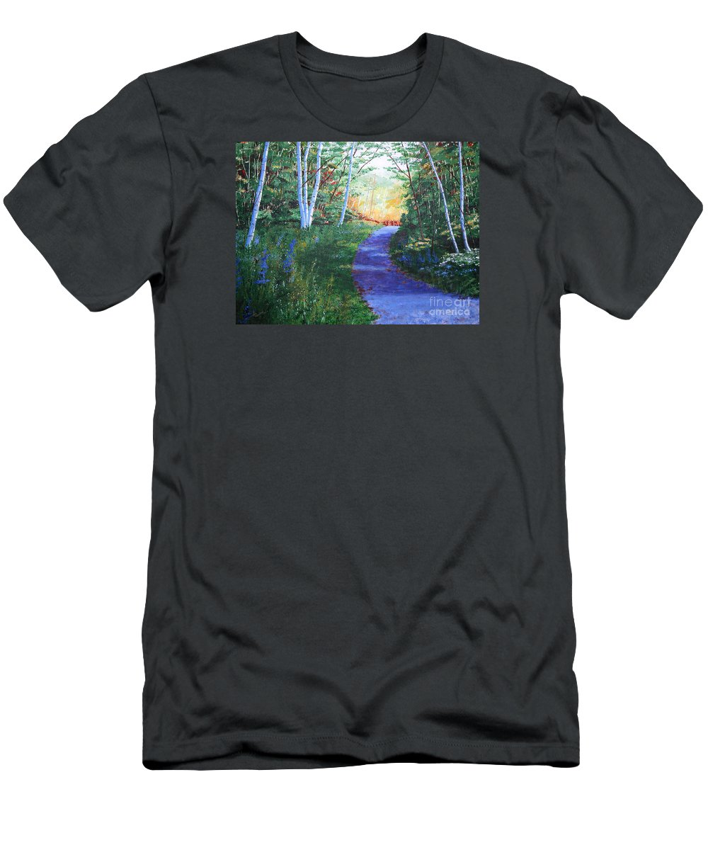 Pathway Men's T-Shirt (Athletic Fit) featuring the painting On The Path by Lynn Quinn