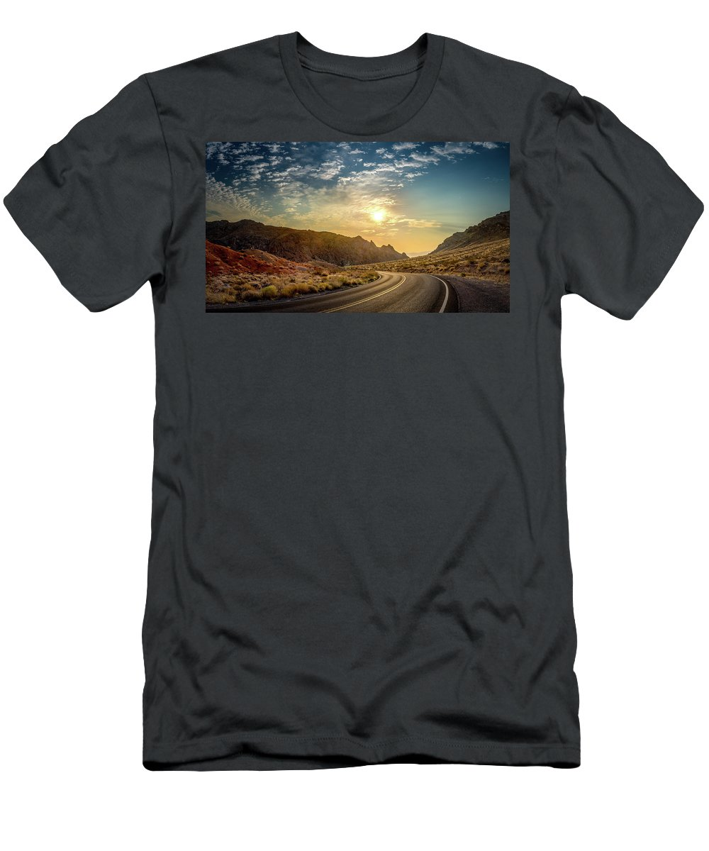 Las Vegas Men's T-Shirt (Athletic Fit) featuring the photograph On The Road Again by Yves Keroack