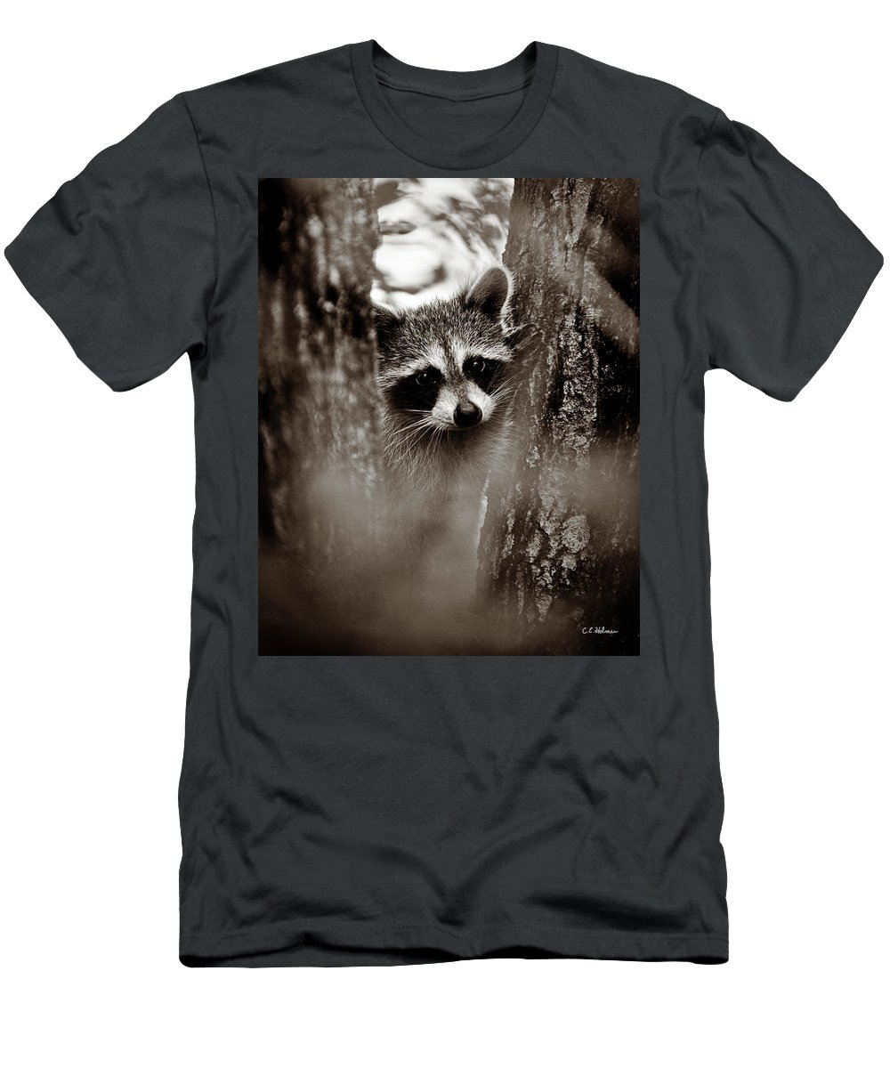 Racoon Men's T-Shirt (Athletic Fit) featuring the photograph On Watch - Sepia by Christopher Holmes