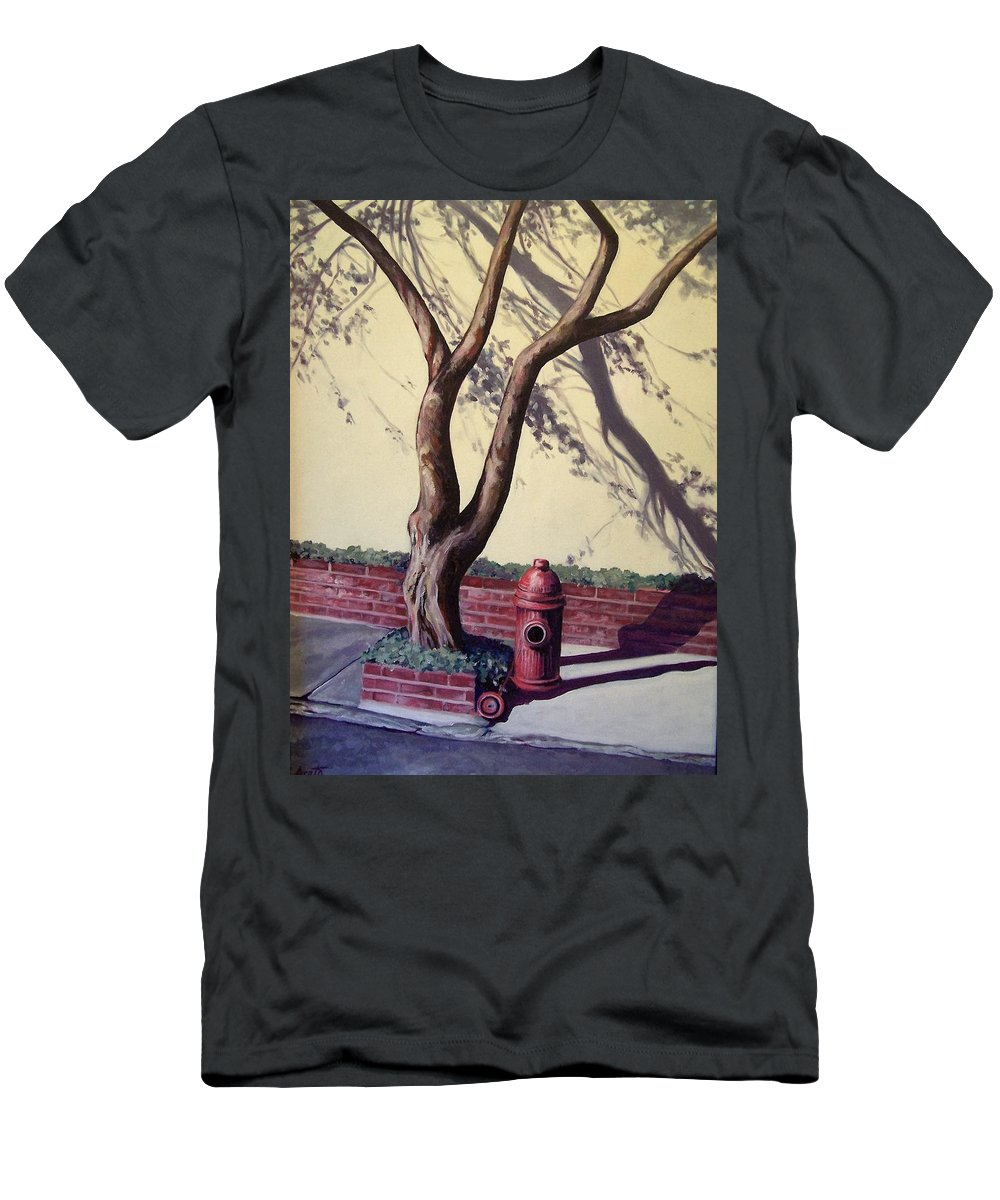 City Street Scene Men's T-Shirt (Athletic Fit) featuring the painting Open Hydrant by Laura Aceto