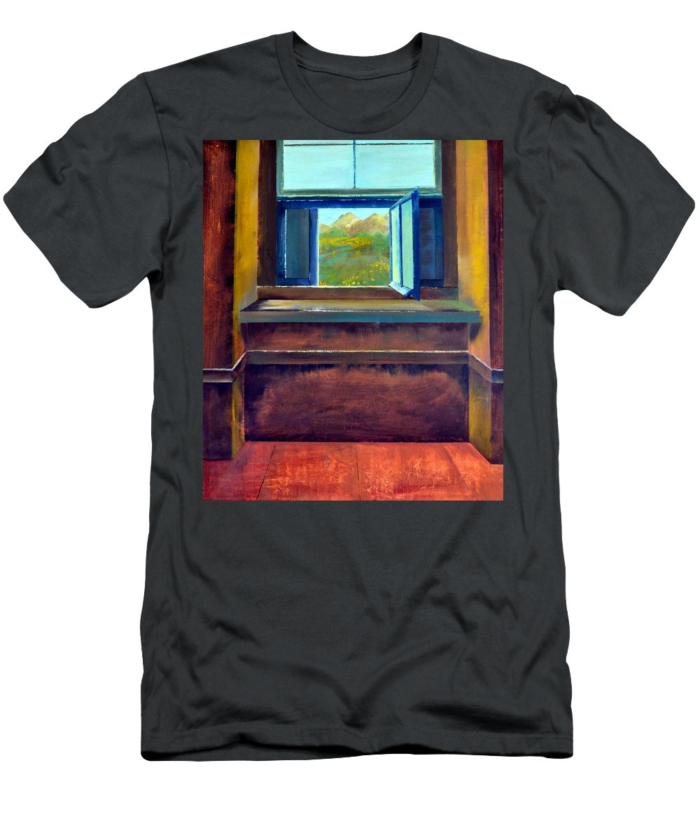 Trompe L'oeil Men's T-Shirt (Athletic Fit) featuring the painting Open Window by Michelle Calkins