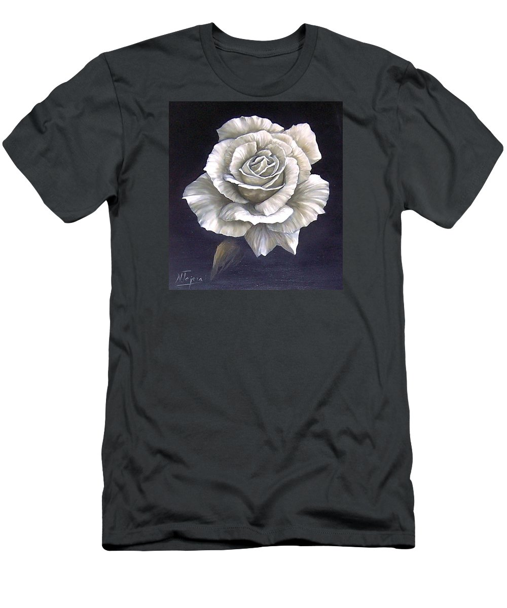Rose Flower Men's T-Shirt (Athletic Fit) featuring the painting Opened Rose by Natalia Tejera