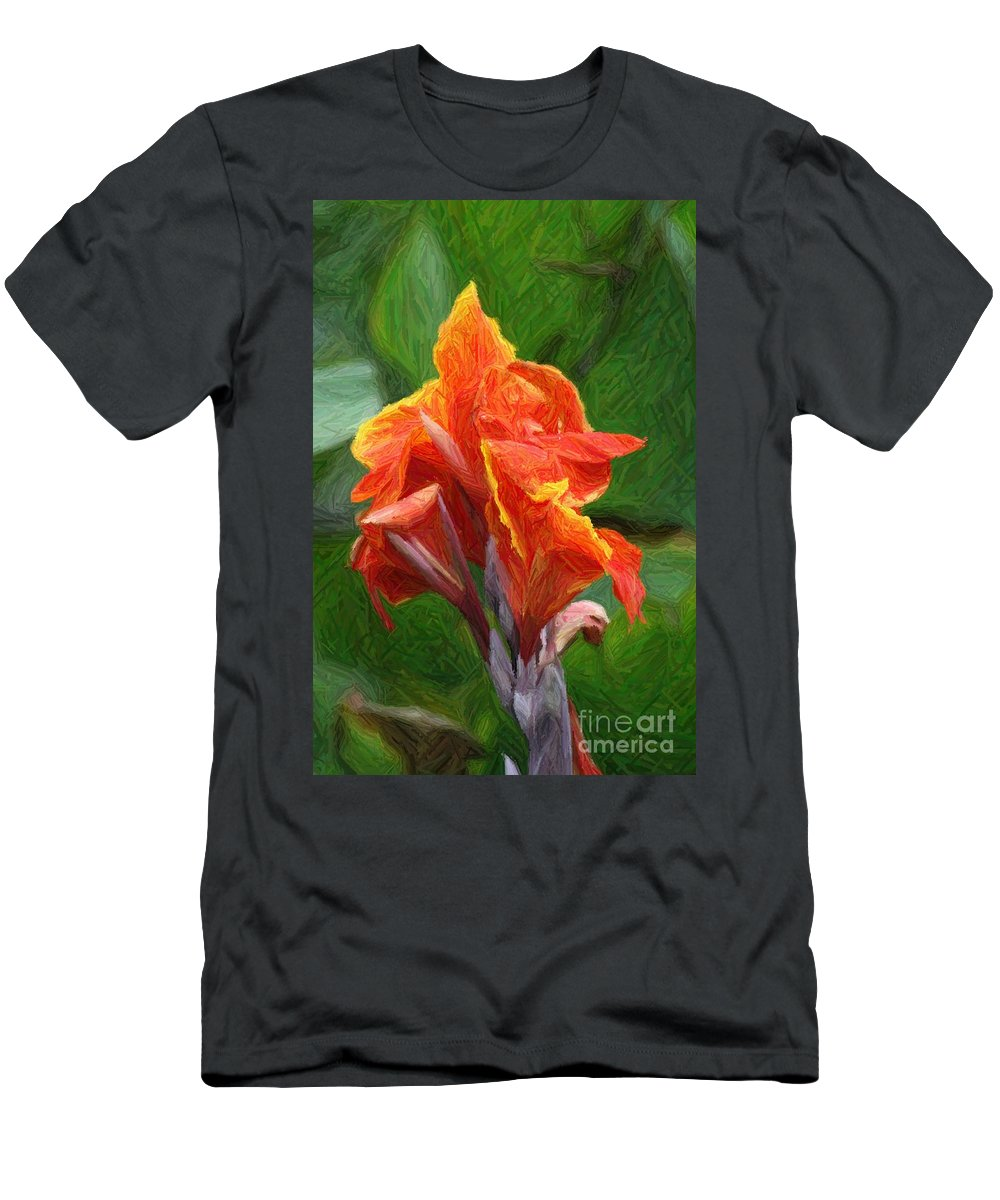 Orange Men's T-Shirt (Athletic Fit) featuring the photograph Orange Canna Art by John W Smith III