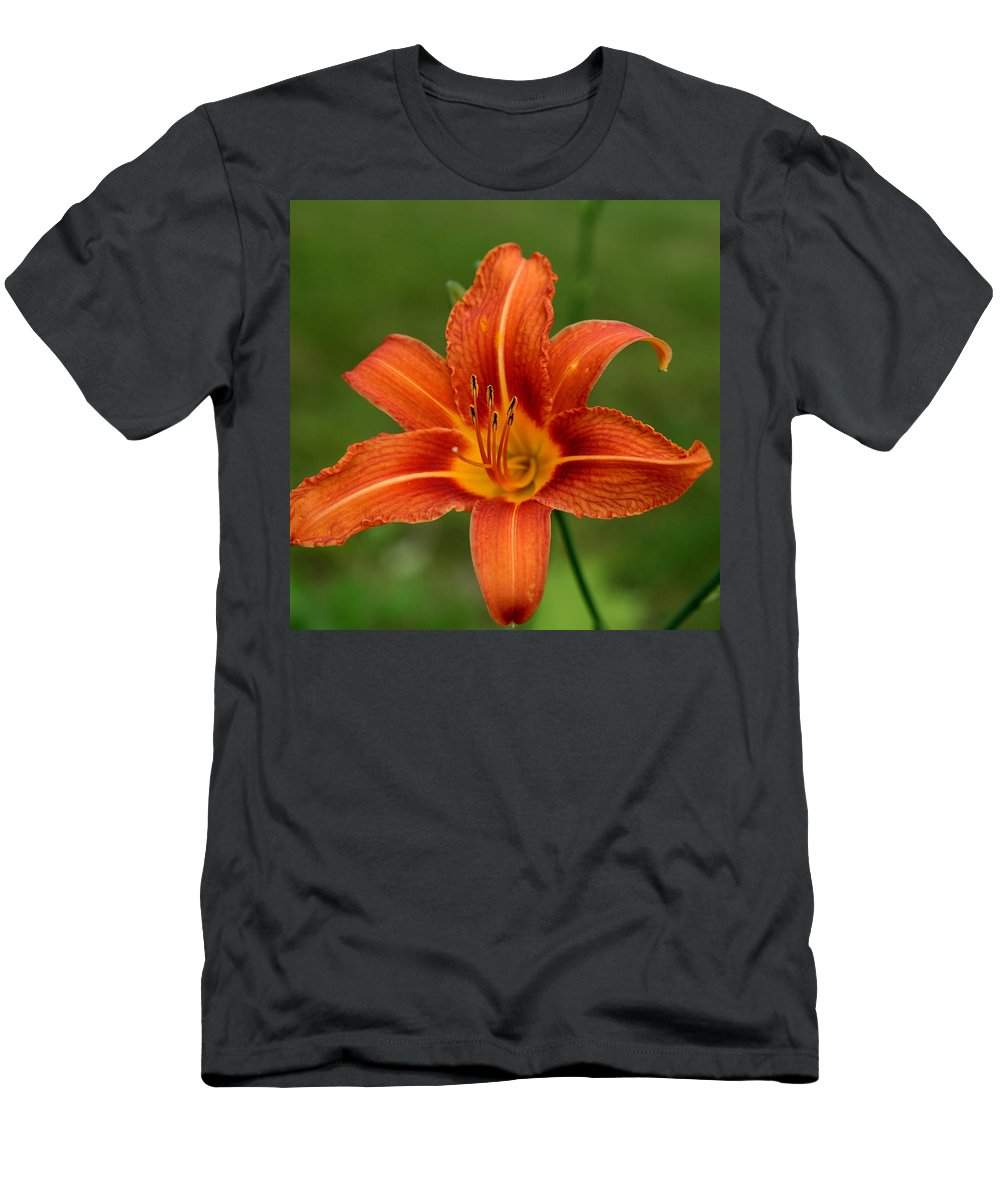 Hemerocallis Fulva Men's T-Shirt (Athletic Fit) featuring the photograph Orange Day Lily No.2 by Neal Eslinger