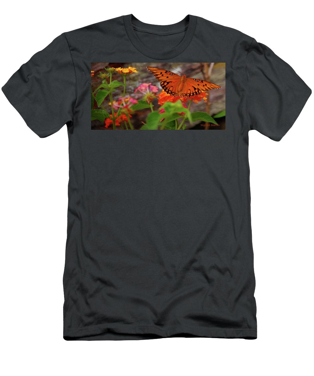 Butterfly Men's T-Shirt (Athletic Fit) featuring the digital art Orange You Pretty by DigiArt Diaries by Vicky B Fuller