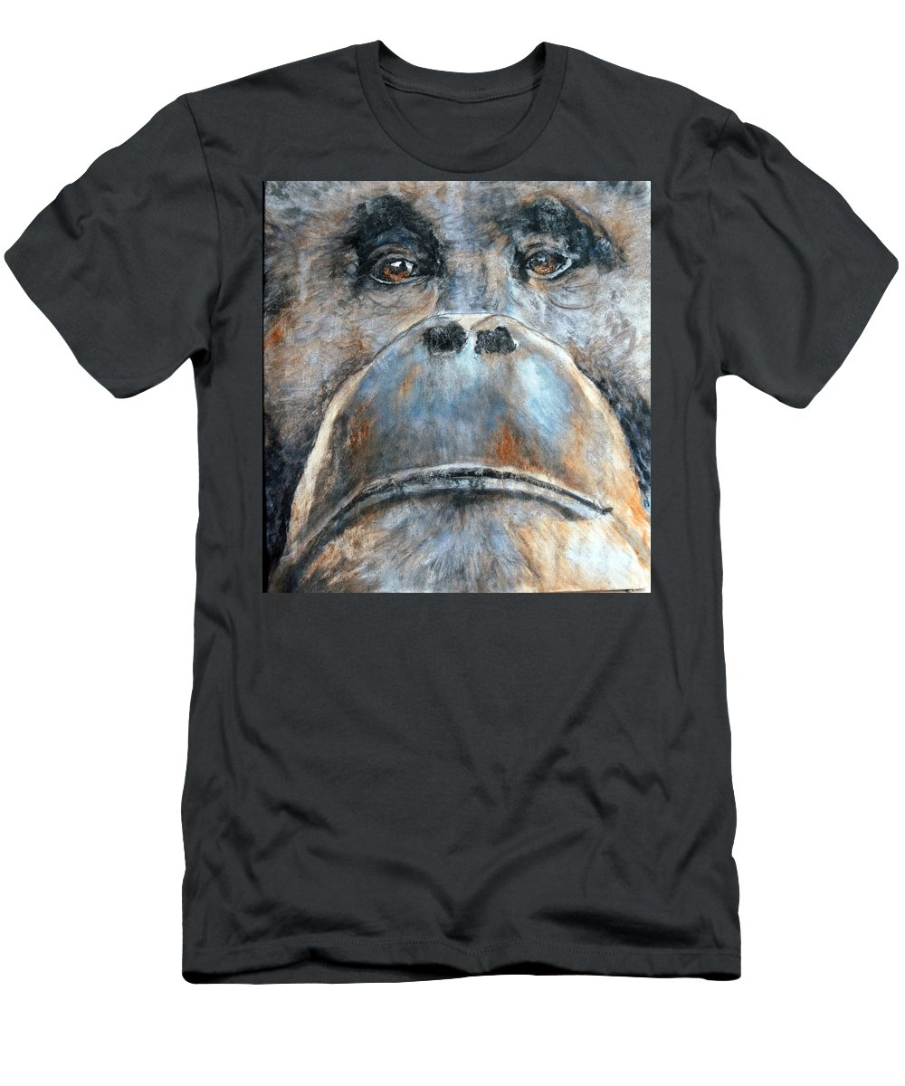 Orangutan Men's T-Shirt (Athletic Fit) featuring the painting Orangutan by Maureen Murphy