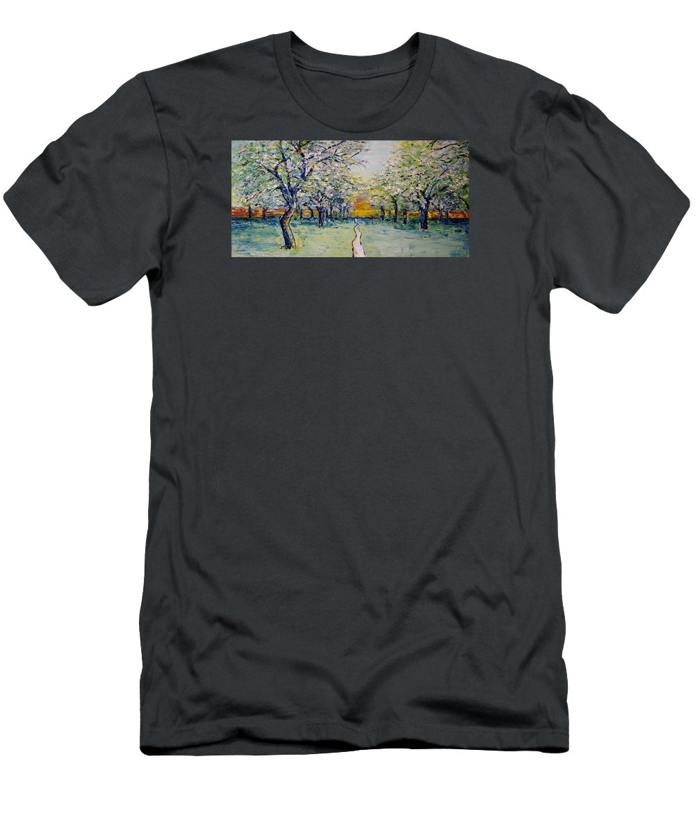 Impressionism Men's T-Shirt (Athletic Fit) featuring the painting Orchard Path by Jo Gerrior