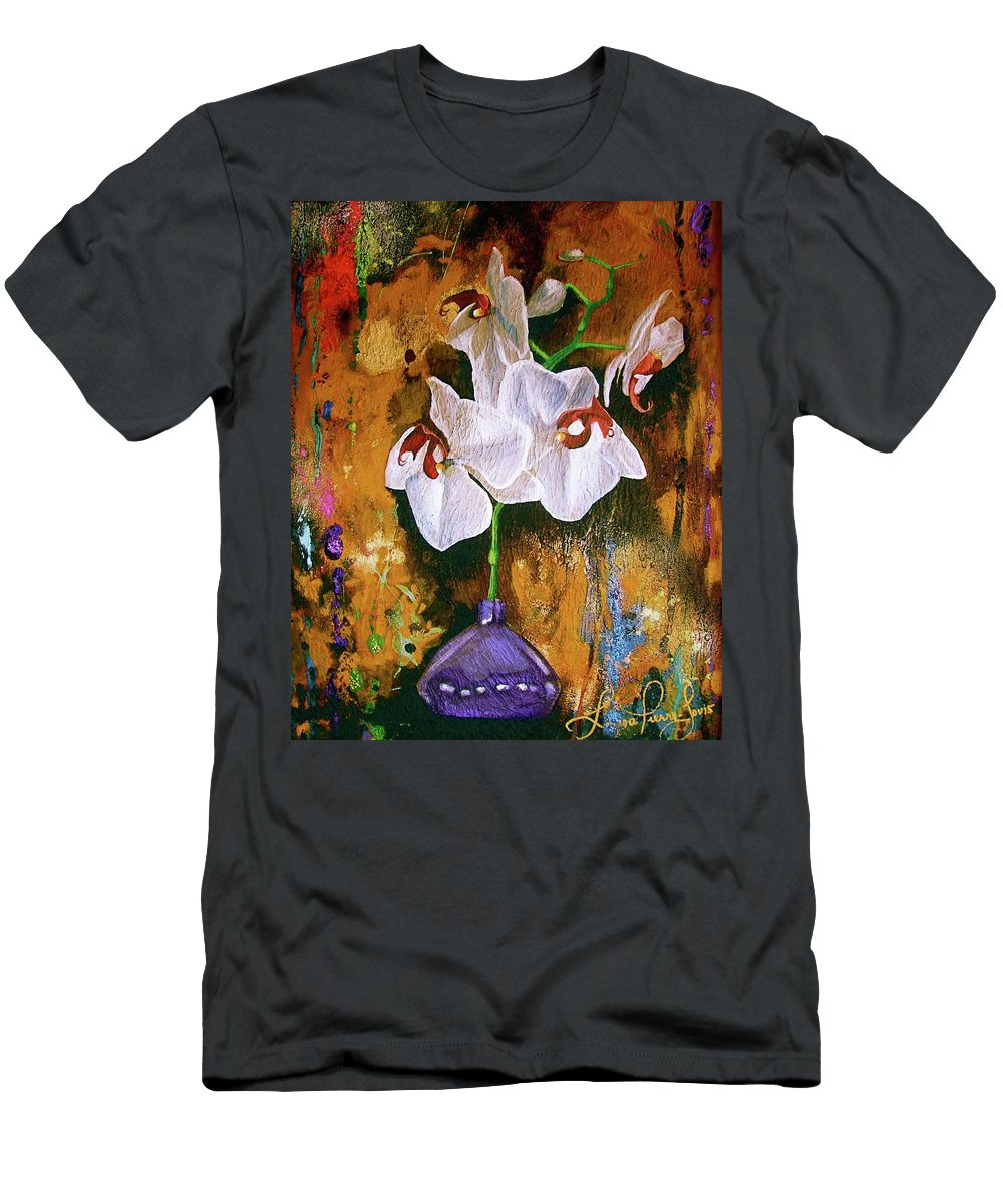 Flowers Men's T-Shirt (Athletic Fit) featuring the painting Orchid Ho by Laura Pierre-Louis