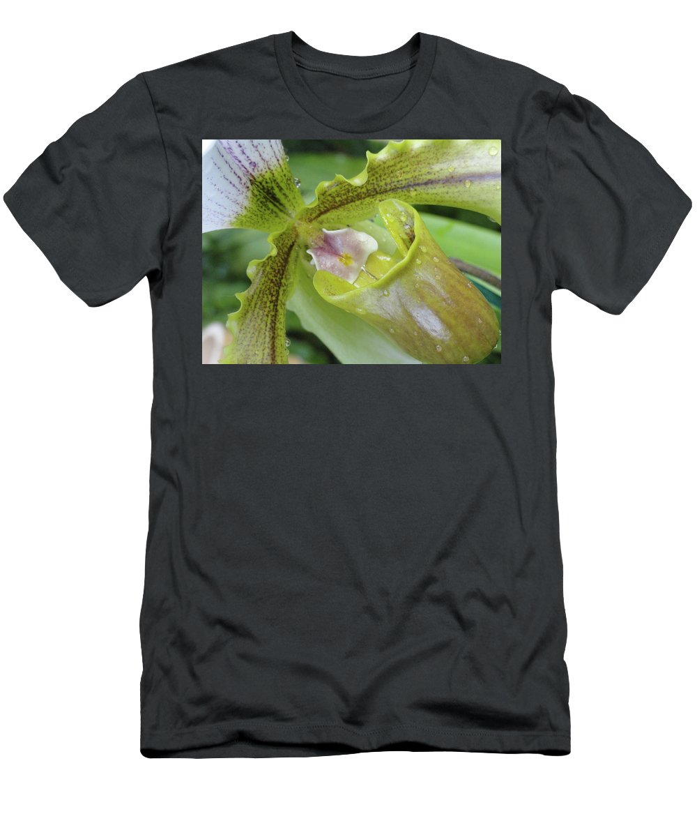 Orchid Men's T-Shirt (Athletic Fit) featuring the photograph Orchid Love by Trish Hale