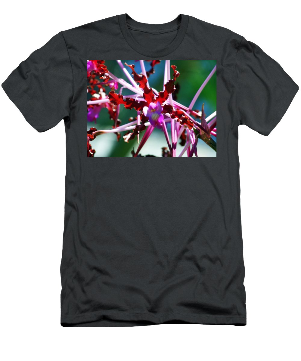 Orchids Men's T-Shirt (Athletic Fit) featuring the photograph Orchid Spider by Karen Wiles