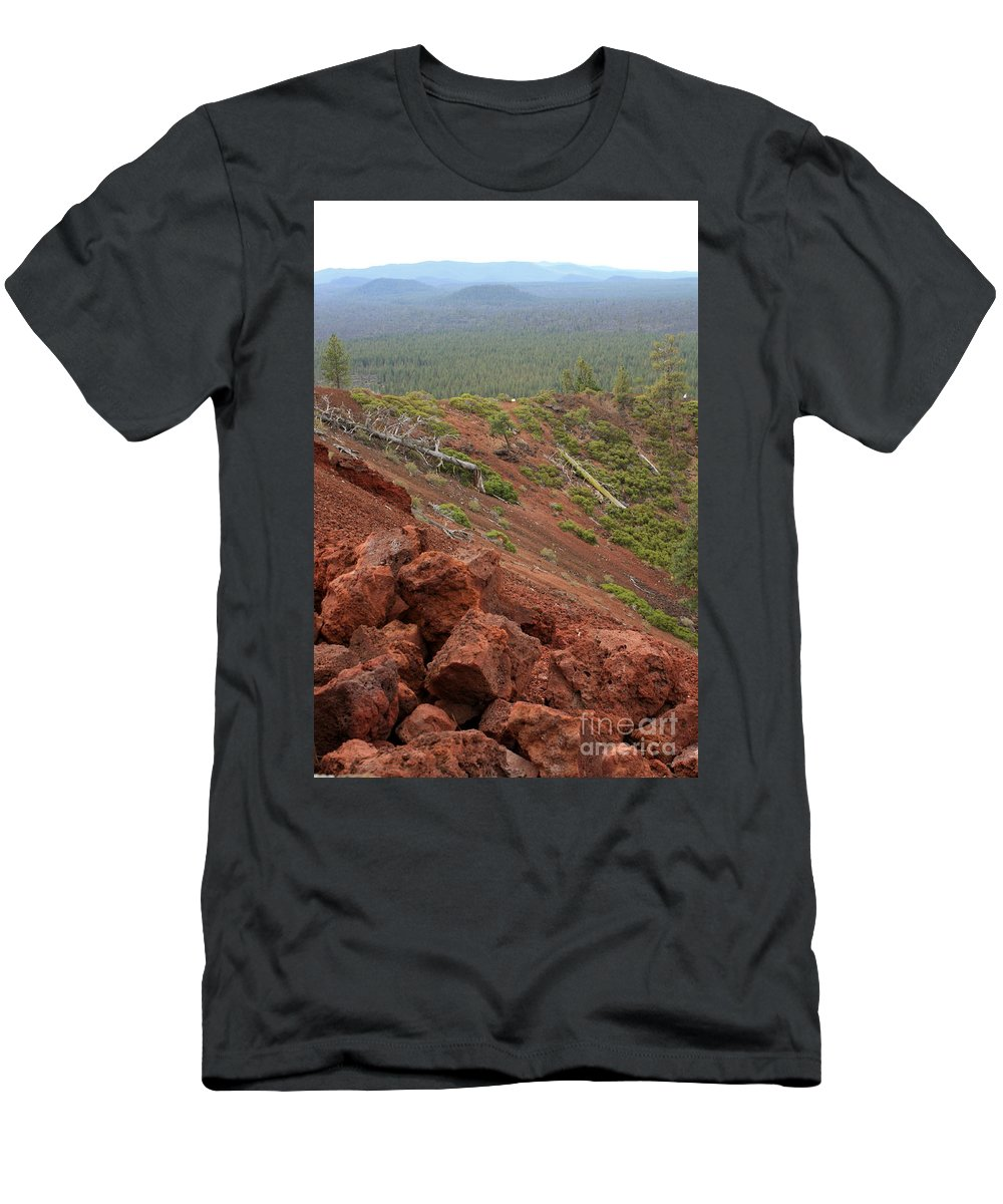 Oregon Men's T-Shirt (Athletic Fit) featuring the photograph Oregon Landscape - Red Rocks At Lava Butte by Carol Groenen