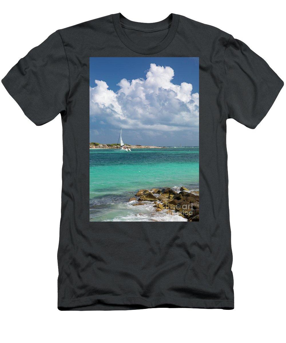 Antilles Men's T-Shirt (Athletic Fit) featuring the photograph Orient Beach Catamaran by Brian Jannsen