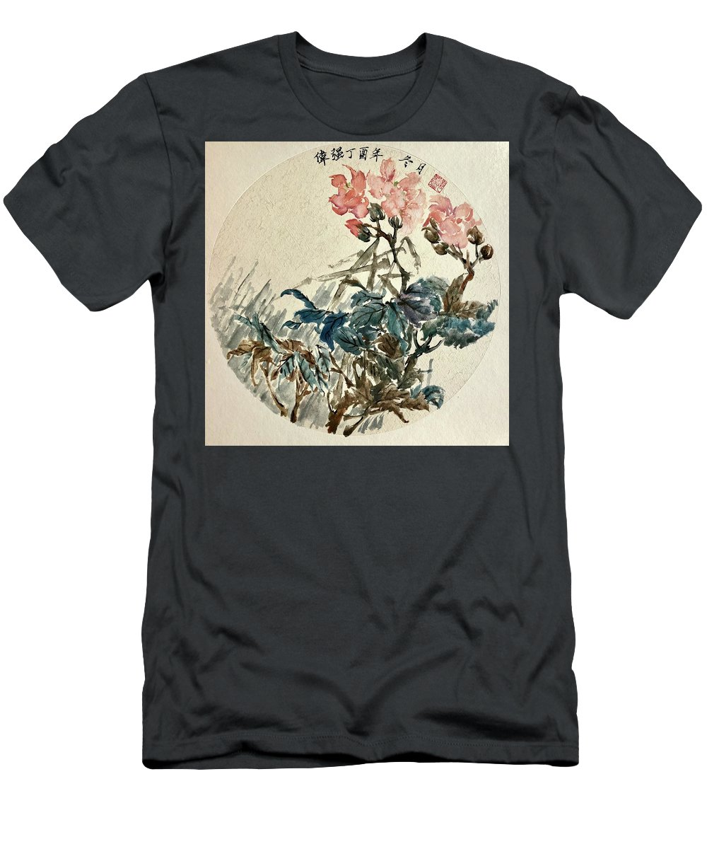 Original Chinese Paintings Men's T-Shirt (Athletic Fit) featuring the painting Original Chinese Flower by Steve Ralston