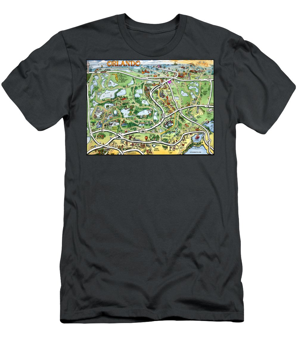 Orlando Men's T-Shirt (Athletic Fit) featuring the digital art Orlando Florida Cartoon Map by Kevin Middleton