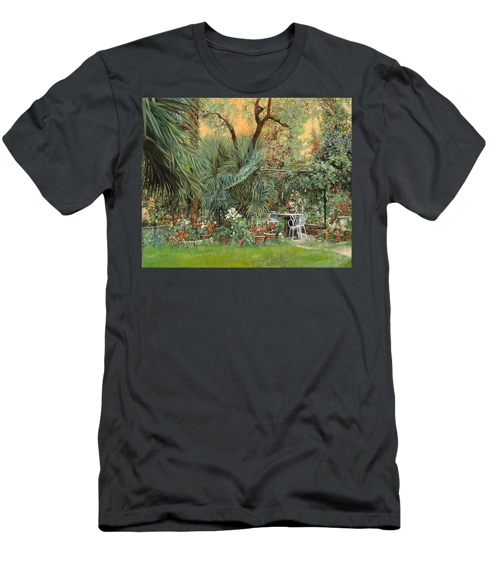 Garden Men's T-Shirt (Athletic Fit) featuring the painting Our Little Garden by Guido Borelli