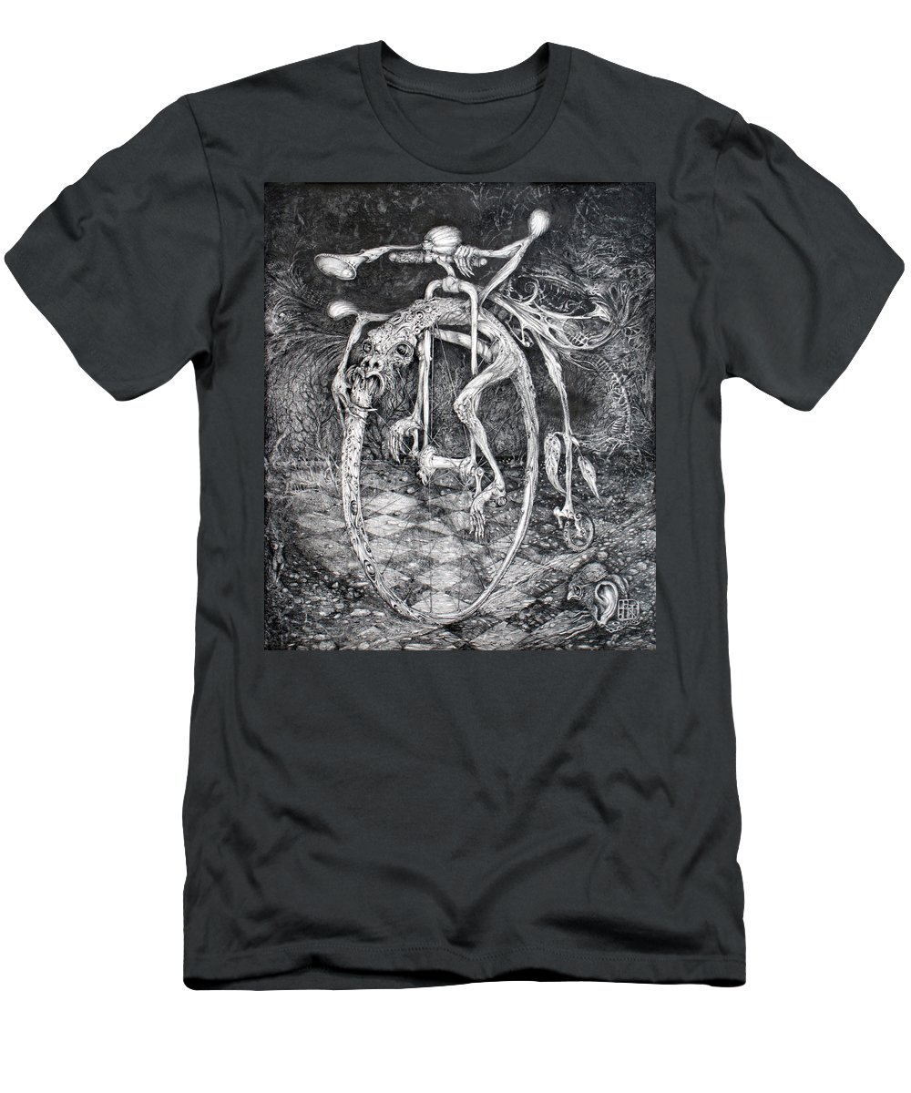 Ouroboros Men's T-Shirt (Athletic Fit) featuring the drawing Ouroboros Perpetual Motion Machine by Otto Rapp