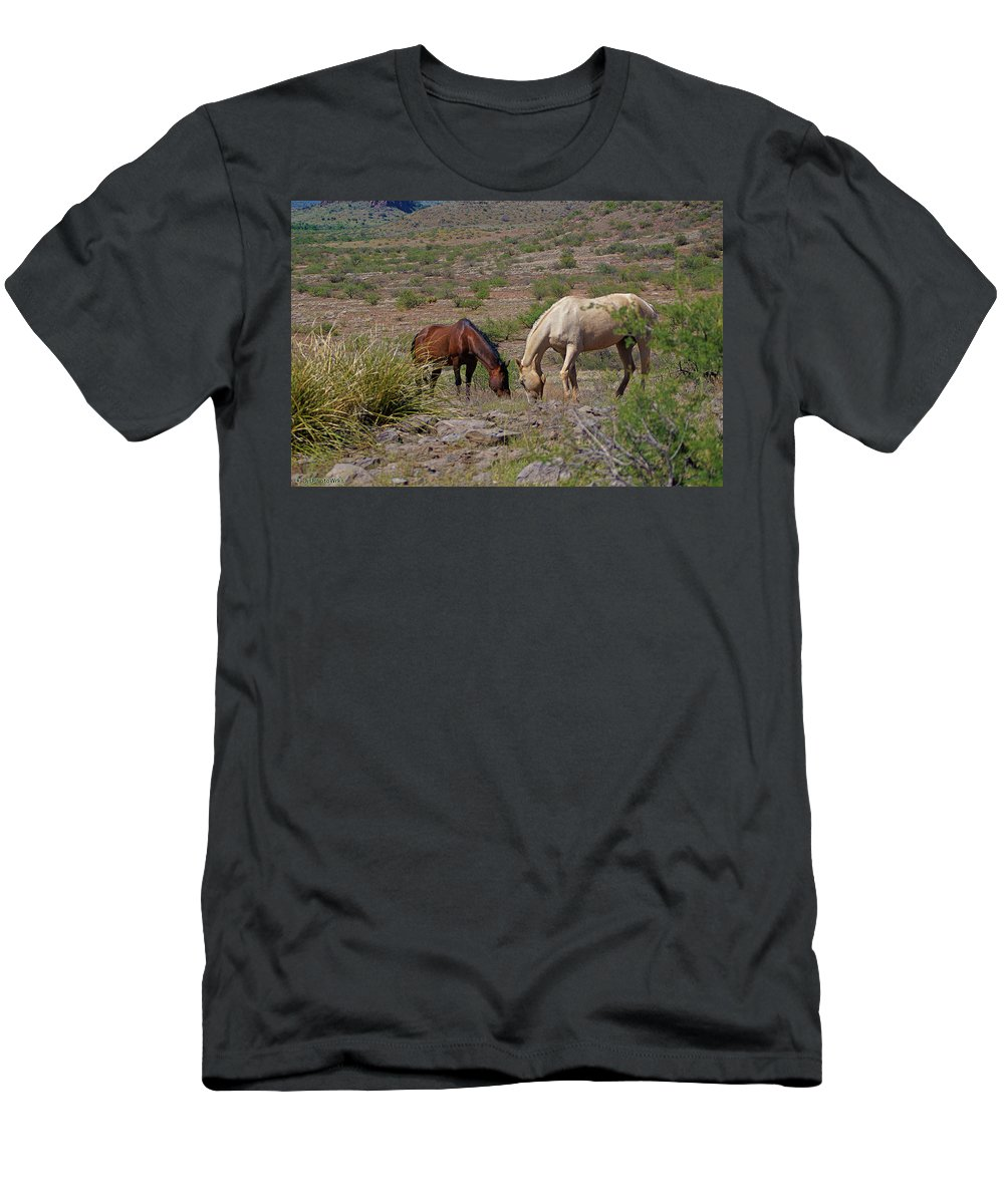 Horses Men's T-Shirt (Athletic Fit) featuring the photograph Out In The Open Range by Darryl Treon