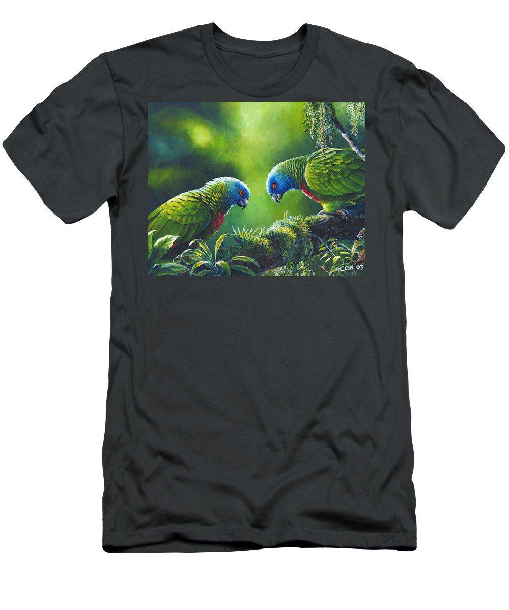 Chris Cox Men's T-Shirt (Athletic Fit) featuring the painting Out On A Limb - St. Lucia Parrots by Christopher Cox