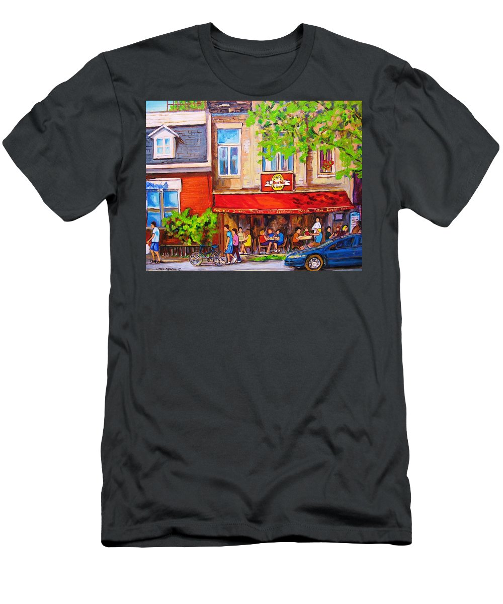 Montreal Men's T-Shirt (Athletic Fit) featuring the painting Outdoor Cafe by Carole Spandau