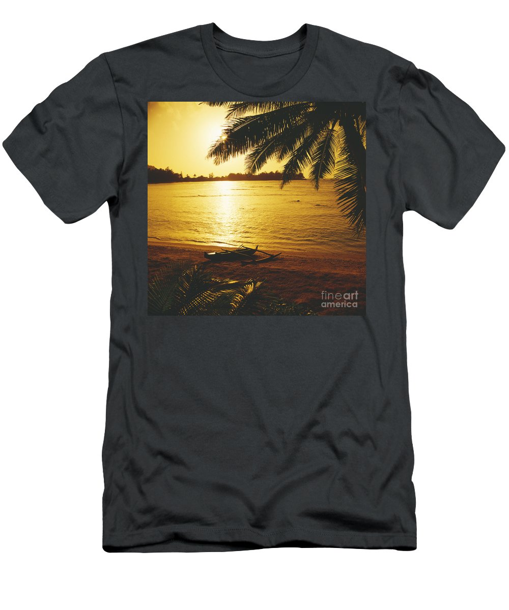 Ashore Men's T-Shirt (Athletic Fit) featuring the photograph Outrigger At Sunset by Dana Edmunds - Printscapes