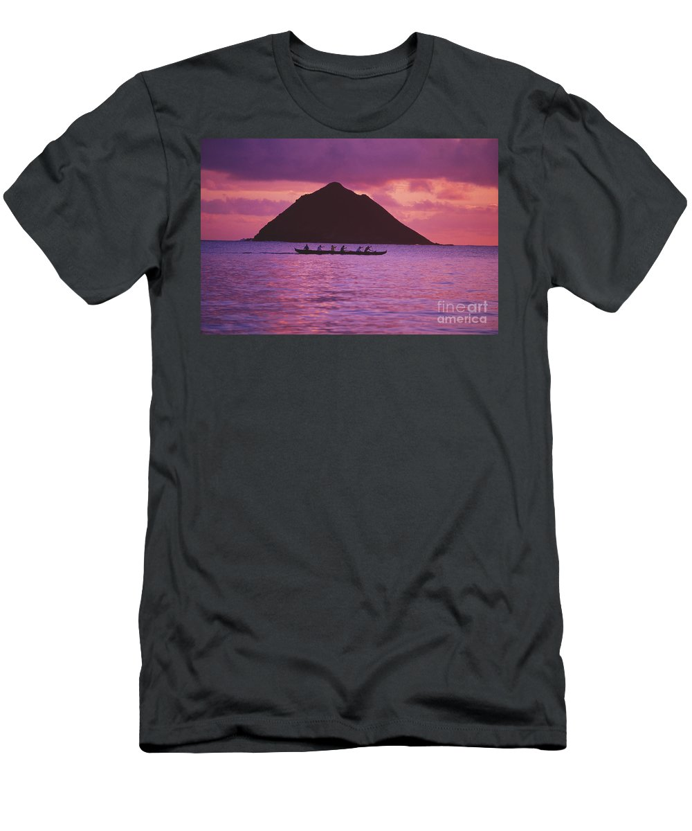 Bright Men's T-Shirt (Athletic Fit) featuring the photograph Outrigger Canoe Team by Tomas del Amo - Printscapes
