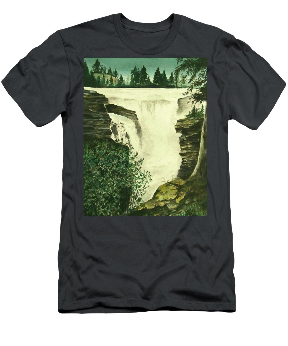 Landscape Watercolor Waterfall Scenic Scenery Landscape Rocks Trees Moss Men's T-Shirt (Athletic Fit) featuring the painting Over The Edge by Brenda Owen