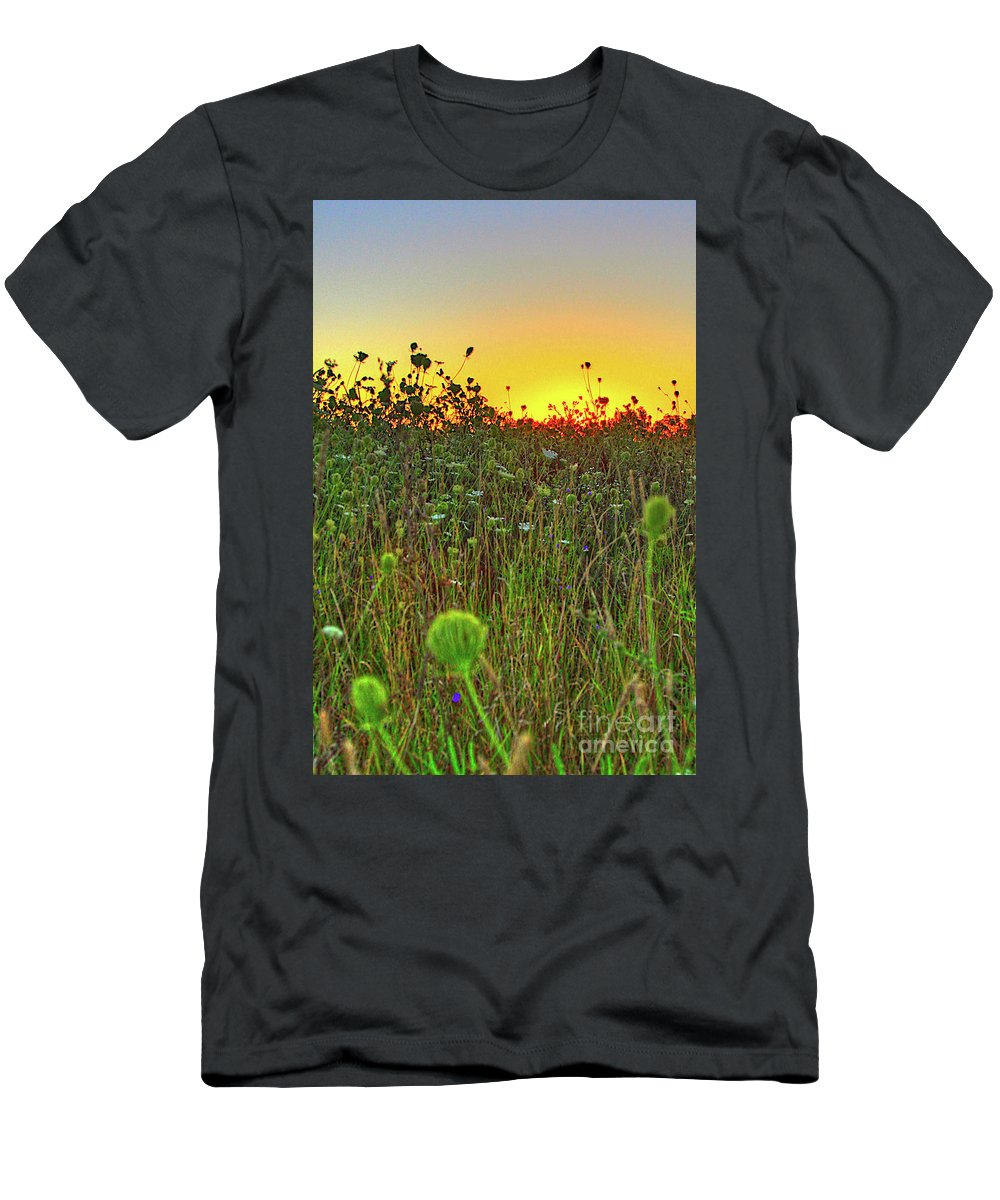 Sunrise Men's T-Shirt (Athletic Fit) featuring the photograph Over The Hill Top by Robert Pearson