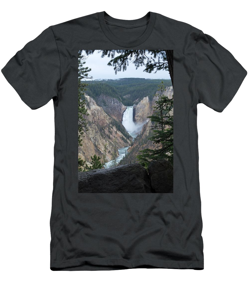 Yellowstone National Park Men's T-Shirt (Athletic Fit) featuring the photograph Over The Rail by Linda Kerkau