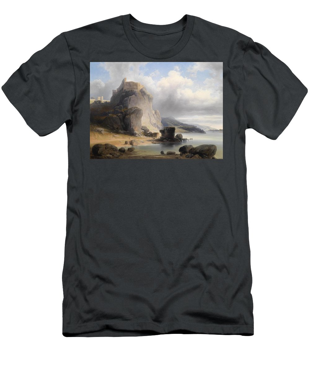 Josef Holzer Overlooking The Castle Ruins Devin 1864 Men's T-Shirt (Athletic Fit) featuring the painting overlooking the castle ruins Devin by MotionAge Designs