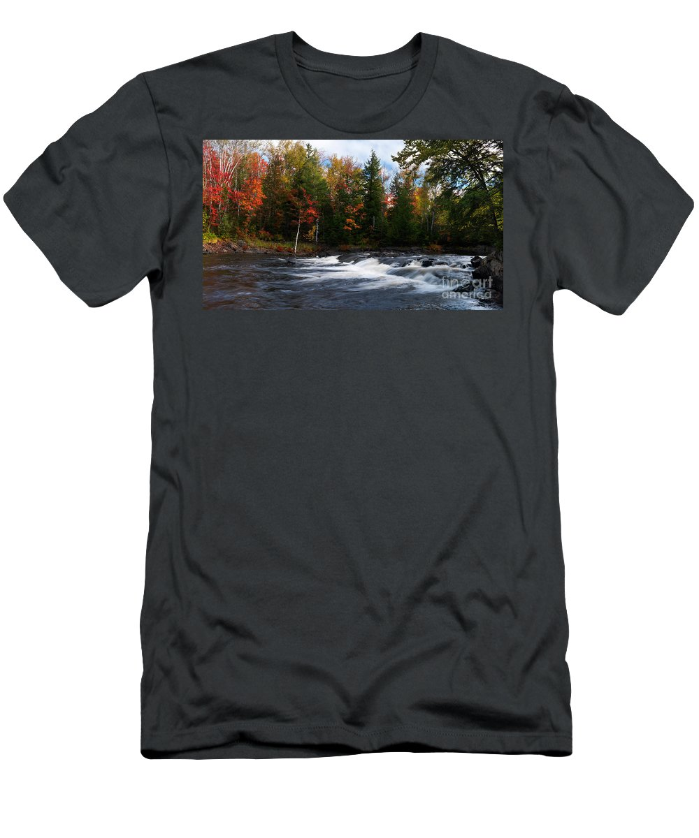River Men's T-Shirt (Athletic Fit) featuring the photograph Oxtongue River Ontario Autumn Scenery by Oleksiy Maksymenko
