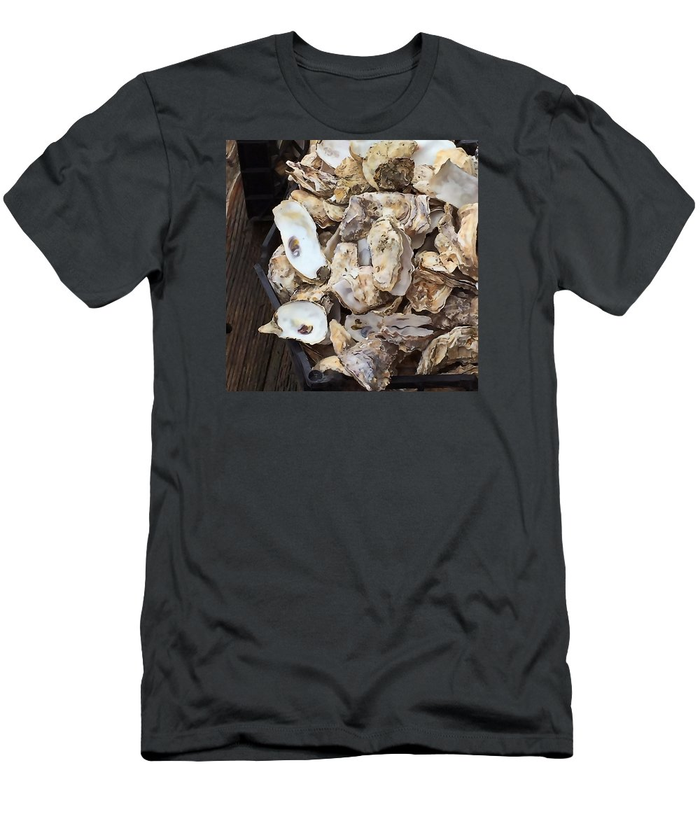 Oysters Men's T-Shirt (Athletic Fit) featuring the photograph Oyster Shells by Art Block Collections