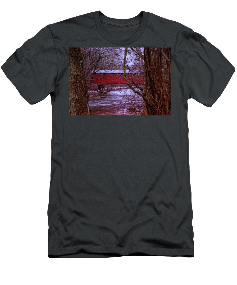 Landscape Men's T-Shirt (Athletic Fit) featuring the photograph Pa Covered Bridge by Jim Turri