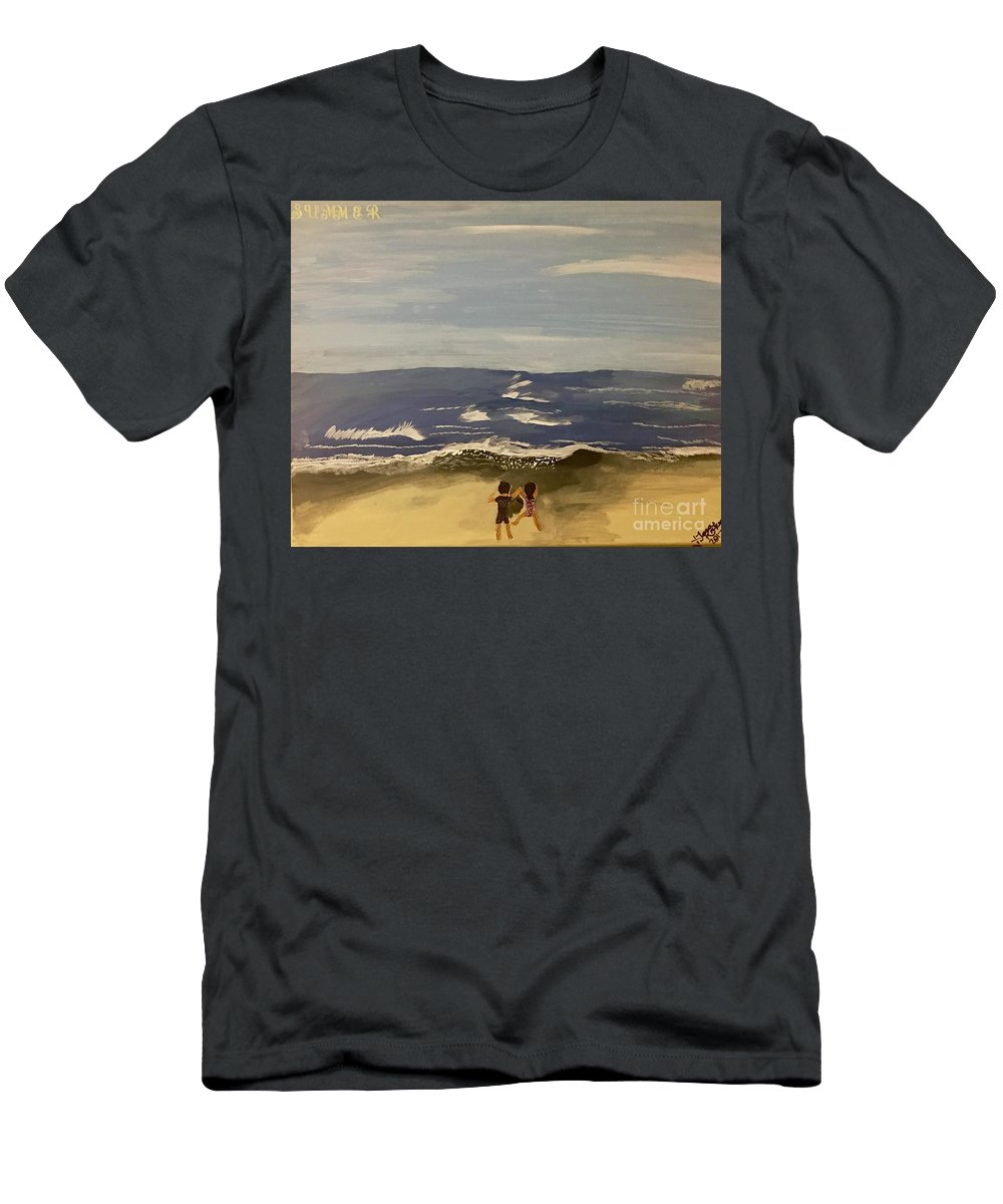 #westcoast #californiacoast # Sandy Beaches #oceanview #picturesoftheocean Men's T-Shirt (Athletic Fit) featuring the painting Pacific Coast Experience by Tara Rocker