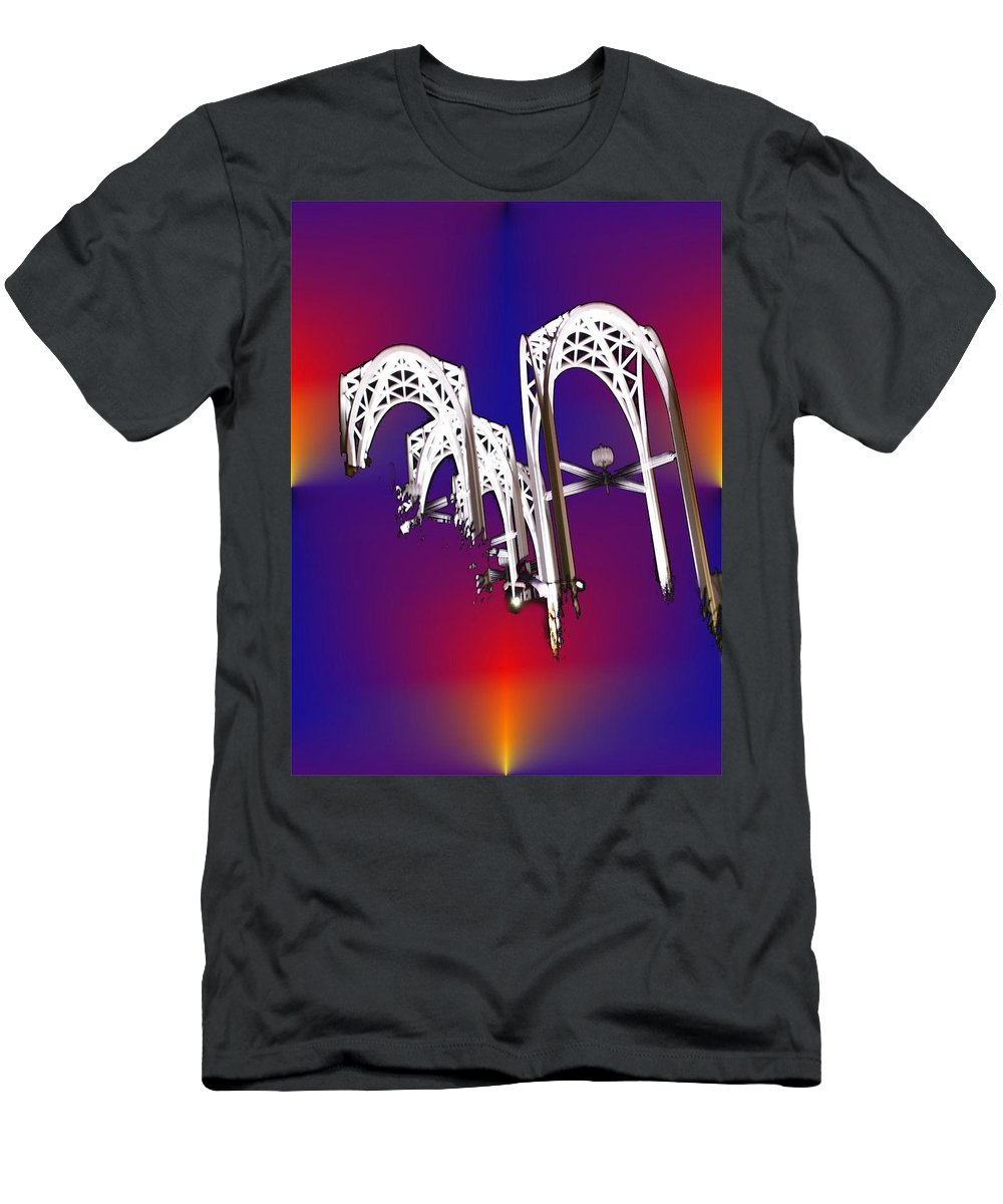 Seattle Men's T-Shirt (Athletic Fit) featuring the photograph Pacific Science Center Arches by Tim Allen