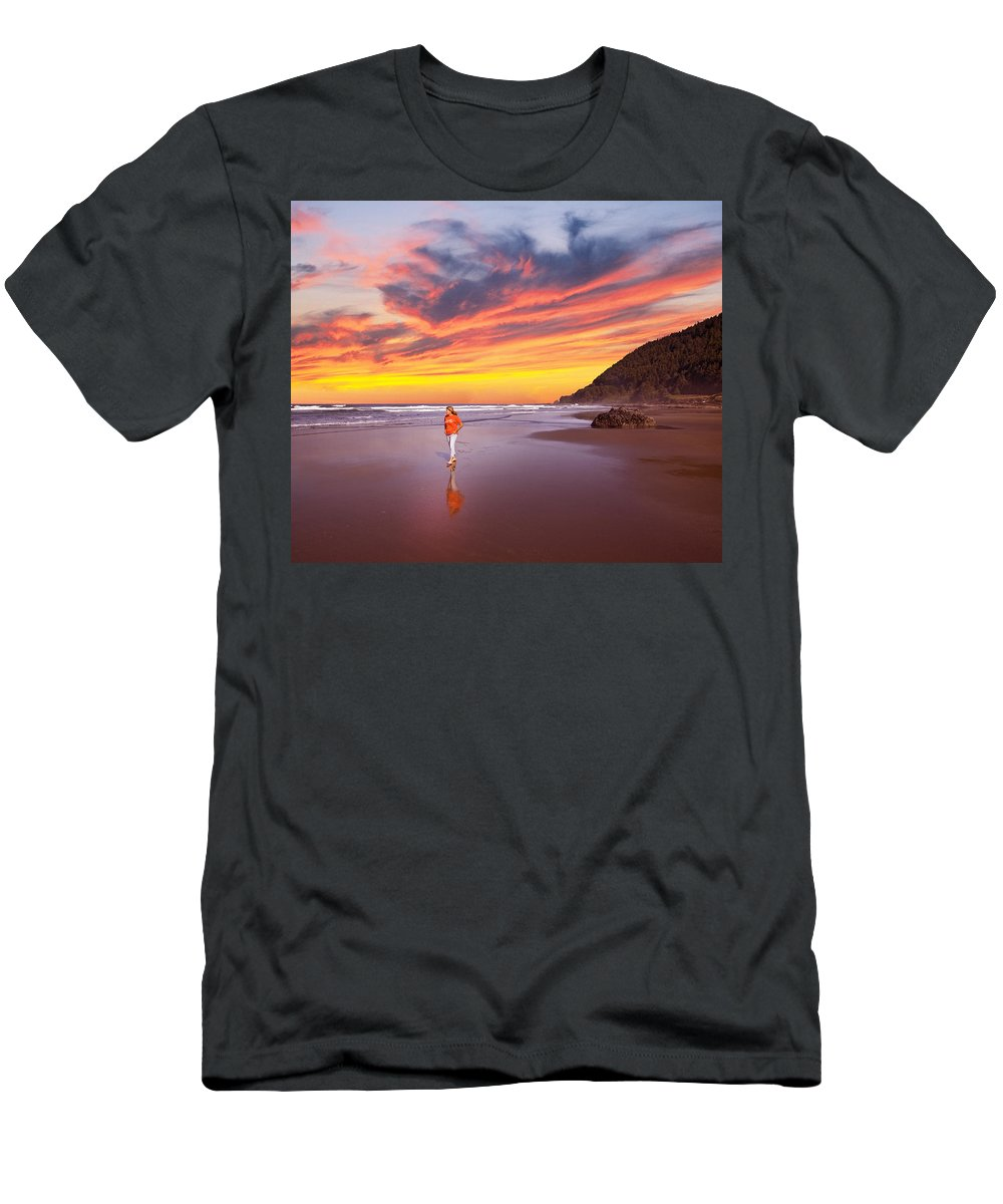 Middle-aged Men's T-Shirt (Athletic Fit) featuring the photograph Pacific Sunset by Buddy Mays
