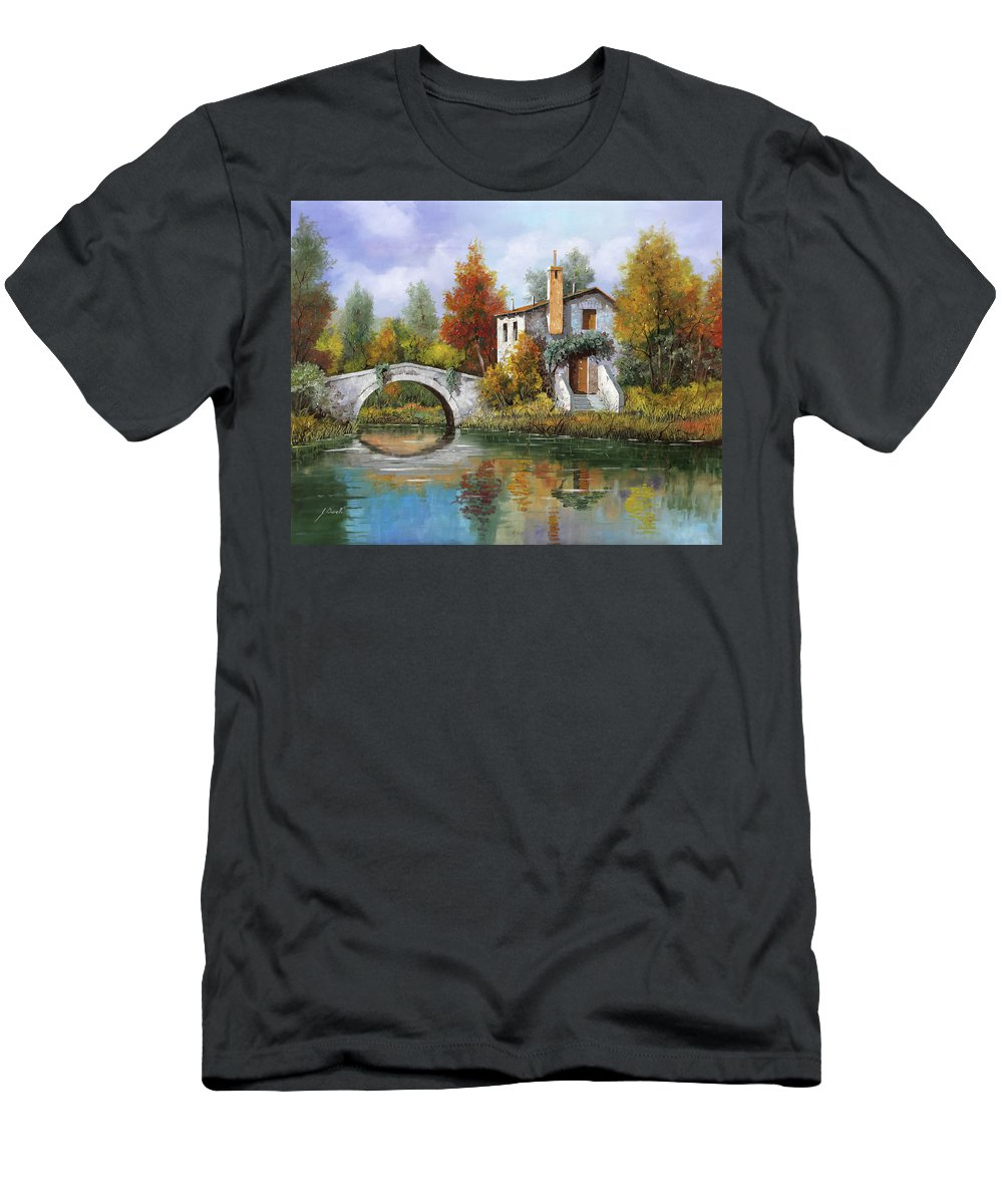 Landscape Men's T-Shirt (Athletic Fit) featuring the painting Paesaggio Pastellato by Guido Borelli
