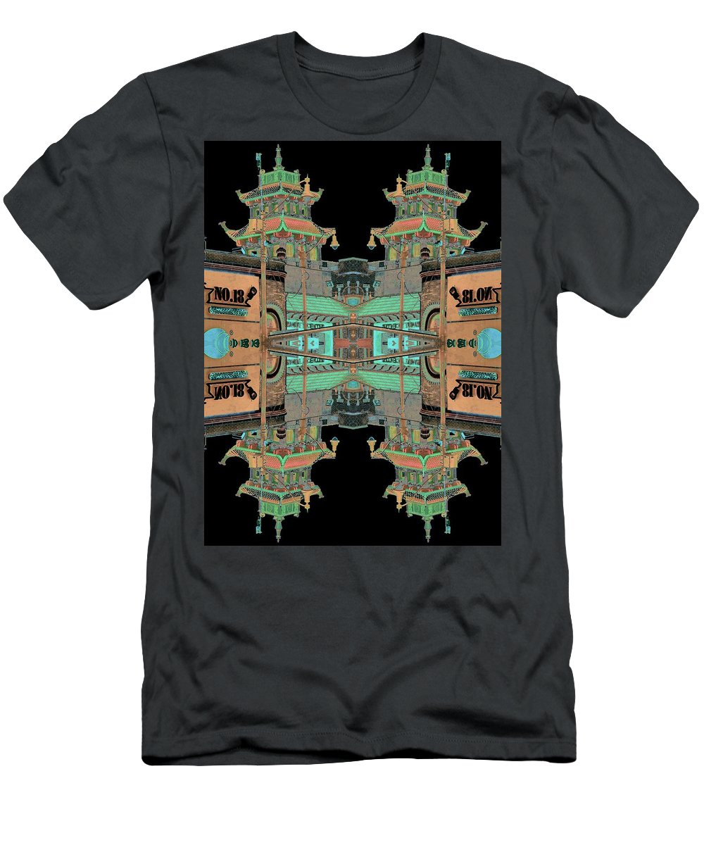 China Town Men's T-Shirt (Athletic Fit) featuring the photograph Pagoda Tower Becomes Chinese Lantern 1 Chinatown Chicago by Marianne Dow