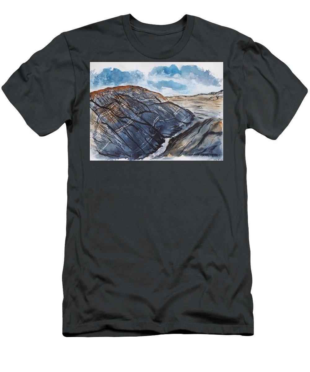 Plein Air T-Shirt featuring the painting Painted Desert landscape mountain desert fine art by Derek Mccrea