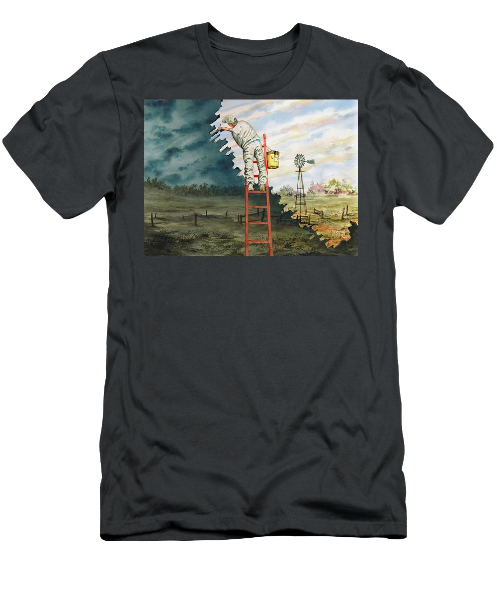 Landscape Men's T-Shirt (Athletic Fit) featuring the painting Paintin Up A Storm by Sam Sidders