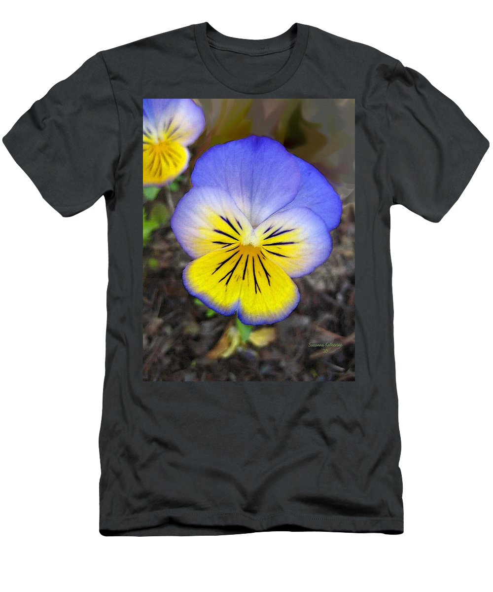 Flower Men's T-Shirt (Athletic Fit) featuring the painting Painting Of Pansey Flower by Susanna Katherine
