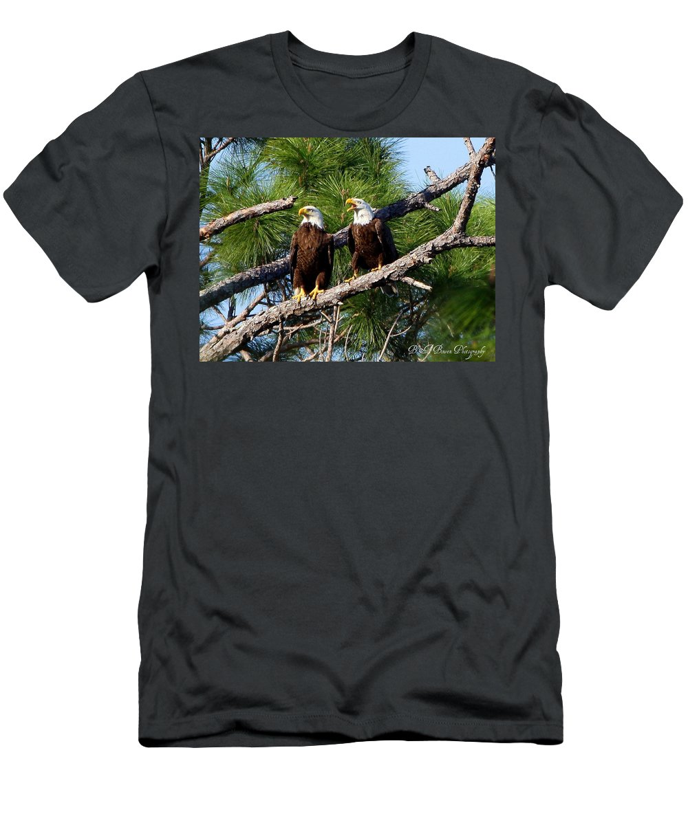 American Bald Eagle Men's T-Shirt (Athletic Fit) featuring the photograph Pair Of American Bald Eagle by Barbara Bowen