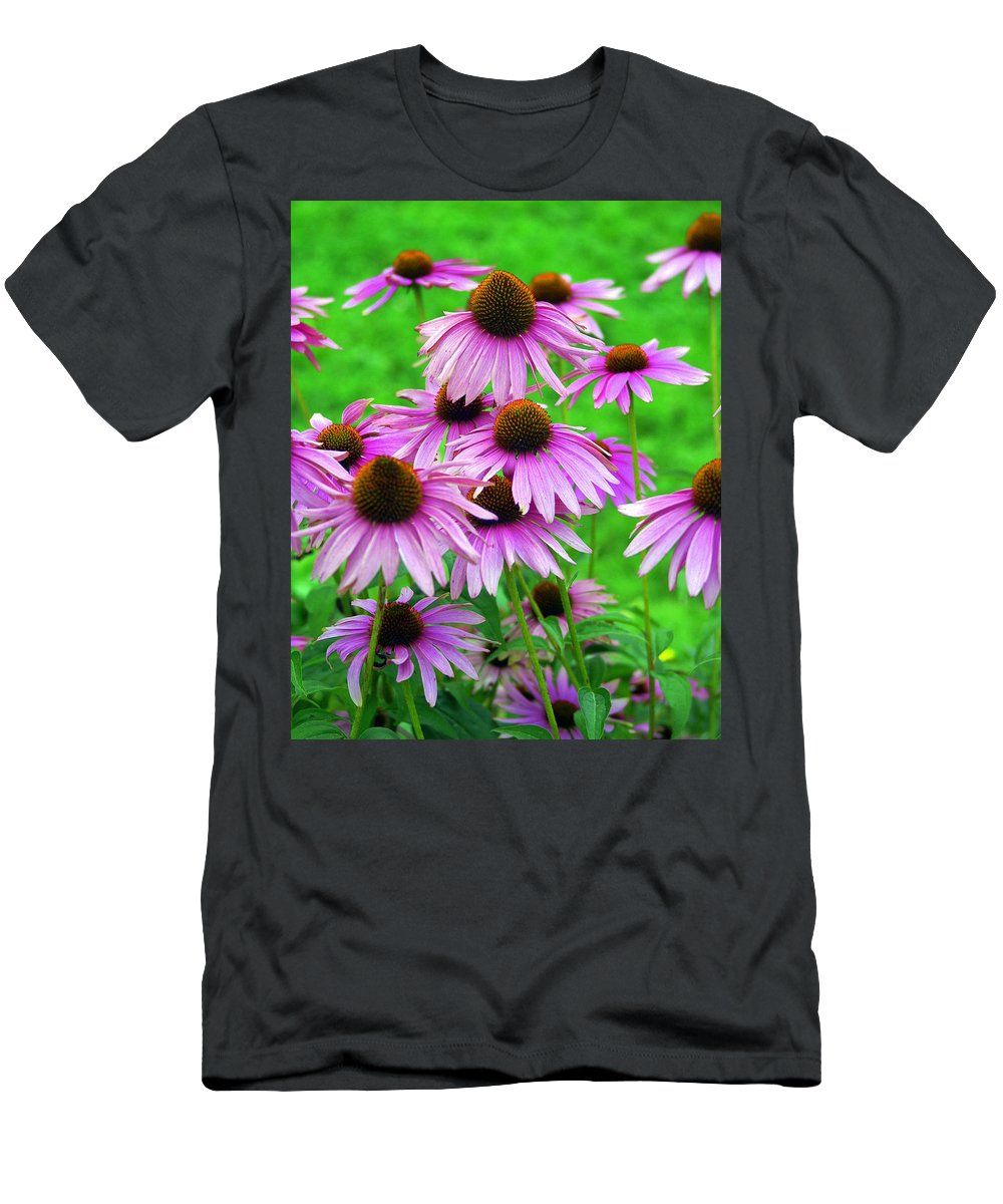 Flowers Men's T-Shirt (Athletic Fit) featuring the photograph Pale Purple Coneflowers by Marty Koch