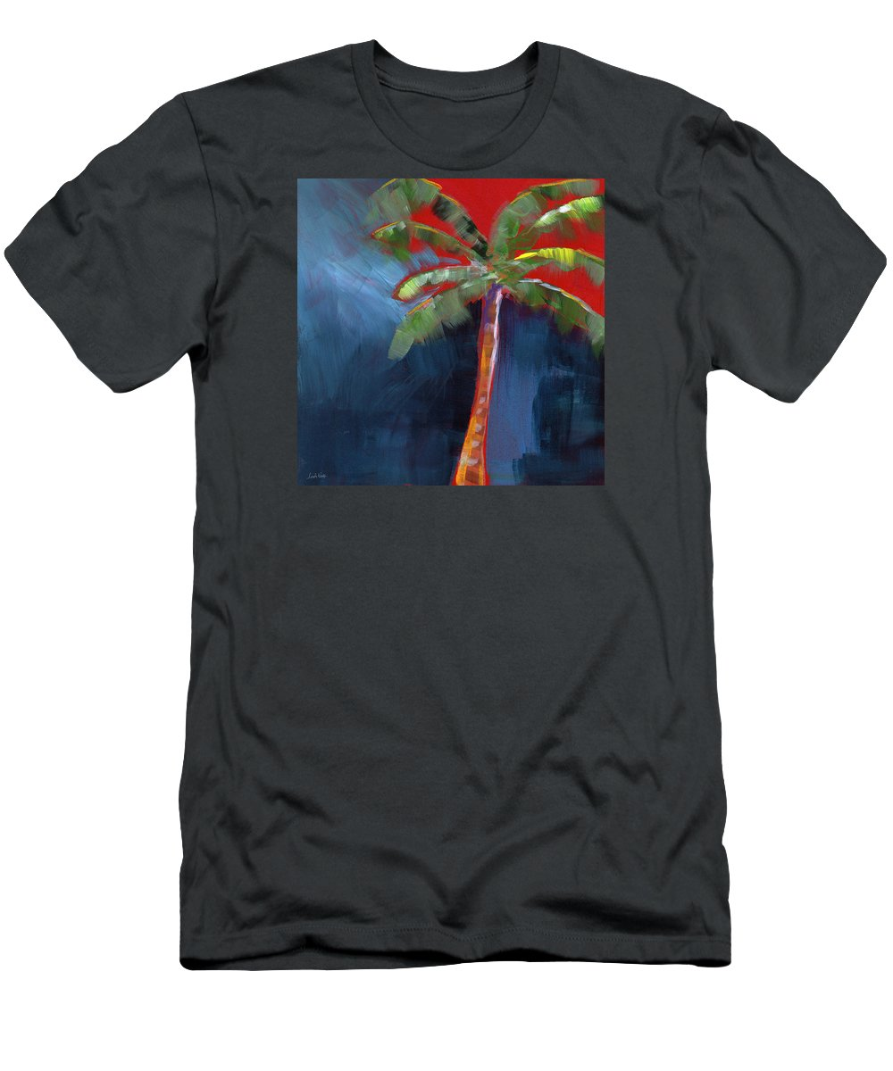 Palm Tree Men's T-Shirt (Athletic Fit) featuring the painting Palm Tree- Art By Linda Woods by Linda Woods