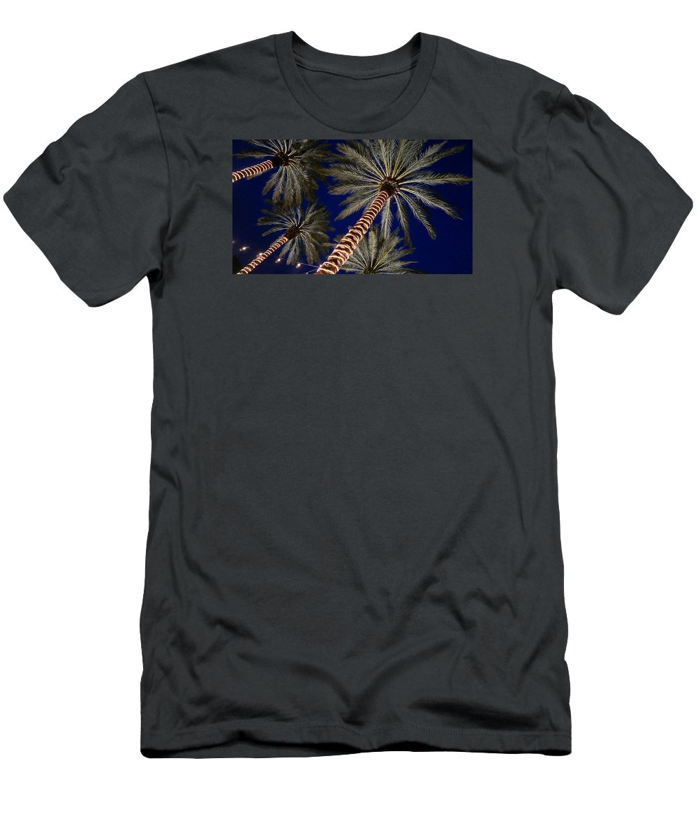 Palm Men's T-Shirt (Athletic Fit) featuring the photograph Palm Trees Wrapped In Lights by Lawrence S Richardson Jr