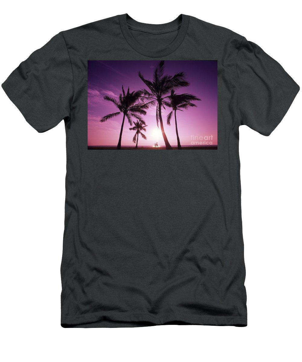 Adult Men's T-Shirt (Athletic Fit) featuring the photograph Palms And Pink Sunset by Carl Shaneff - Printscapes