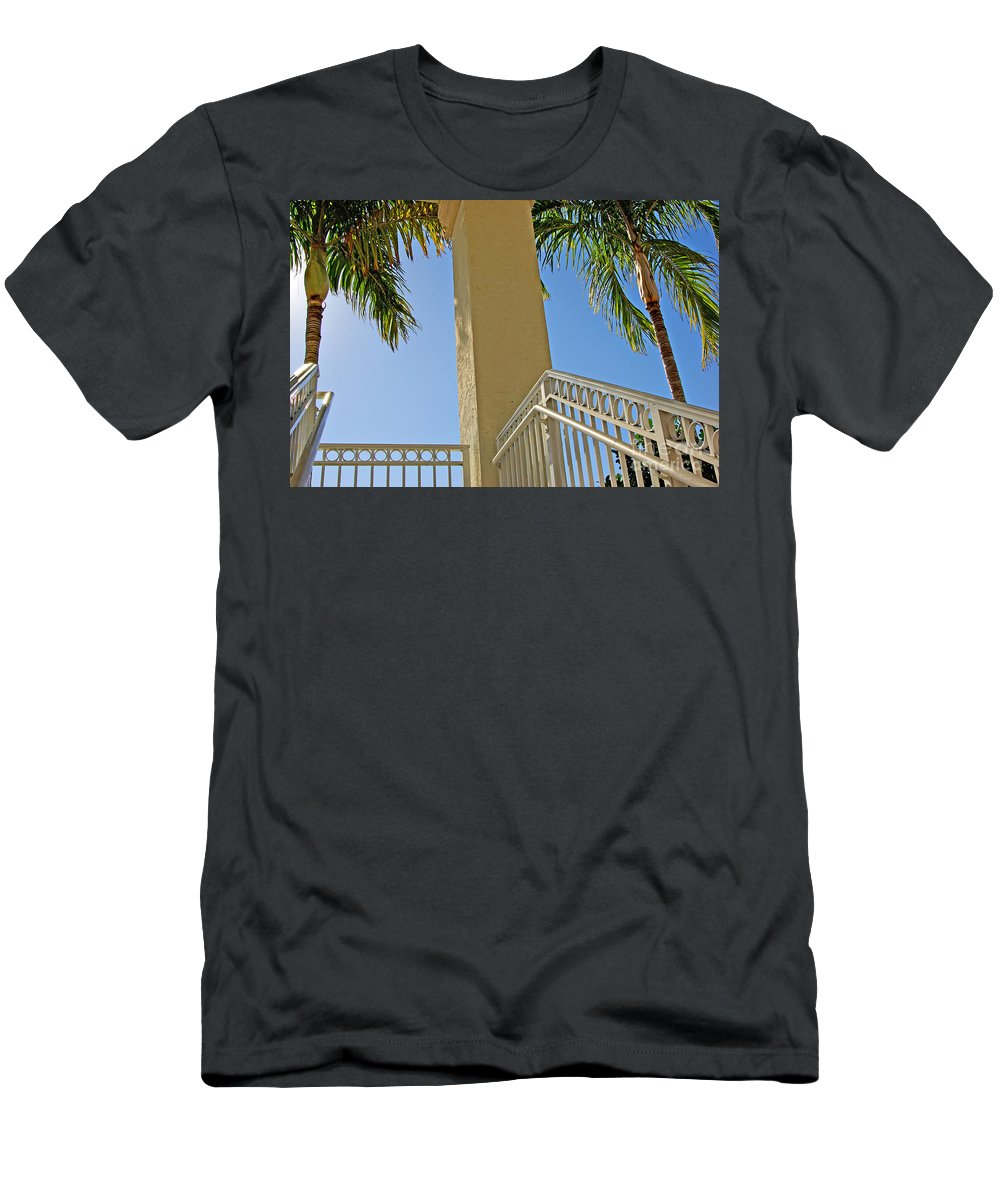 Palm Men's T-Shirt (Athletic Fit) featuring the photograph Palms And Stairs by Zal Latzkovich
